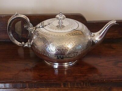 Stunning Antique Silver Plated Bulbous Tea Pot Edwardian Tea Pot Tableware