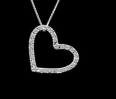 1Ct Lab-Diamond14K White Gold Iced Open Heart Chain Pendant  925 Sterling Silver