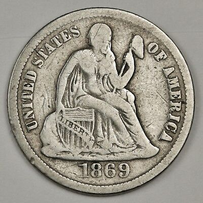 1869-s Seated Liberty Dime.  Fine.  126169