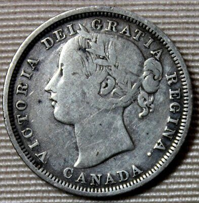 1858 CANADA Silver 20 Twenty Cents * Young Victoria Head * FREE SHIPPING