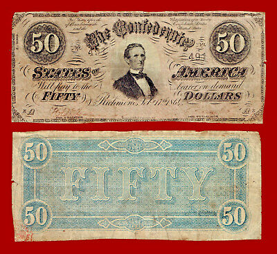 1864 Confederate States Of American $50 Note 491