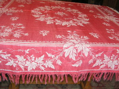 40's Christmas Tablecloth Cotton Damask Cranberry Red Leaves Holly Berry Fringed