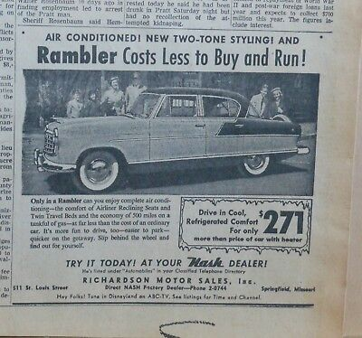 1955 newspaper ad for Nash - Rambler, Air Conditioned with Two-Toned Styling