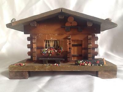 Vtg handpainted Black Forest wood music box house 'Les enfants du Piree' JEC