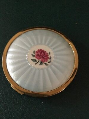 vintage powder compact by Mascot ASB 1950's Guilloche Effect Pink Rose Puff