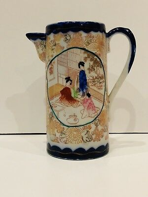 Antique Nippon Japanese Hand Painted Tall Pitcher Red Lined Design