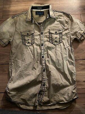 dd95afcd Roar Signature Mens Short Sleeve Button Up Shirt Size Medium Brown Tan