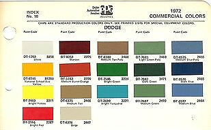 1972 Dodge Trucks Pickup Vans 72 Paint Chips Ditzler 5