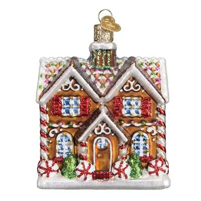 Old World Christmas Christmas Time Cottage Glass Ornament 20075 FREE BOX New