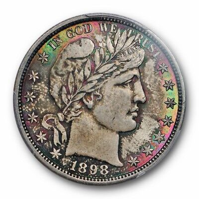 1898 50C Barber Half Dollar PCGS MS 65 Uncirculated Monster Toned Beauty