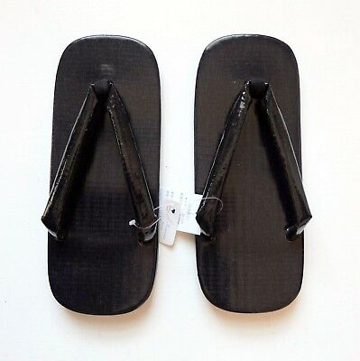 Japanese Setta Sandals Black PVC Coated Cotton Size L 26.5cm Made in Japan