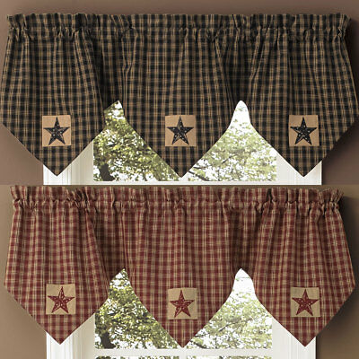 Sturbridge Star Patch Lined Triple Point Valance by Park Designs Black or Wine