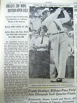 1946 New York Times newspaper SAMMY SNEAD wins the BRITISH OPEN GOLF TOURNAMENT