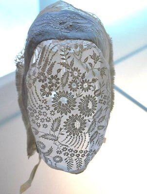 Antique French Hand Embroidered Bonnet Mid 19Thc.