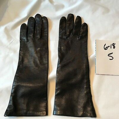 Vintage Macy Associates Black Ladies' Lined Leather Above the Wrist Gloves