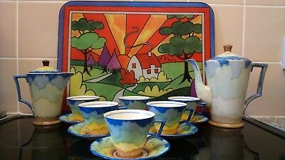 Sunning 1920s Art Deco/Hand Painted Coffee/Tea Set By Hancocks Ivory Ware uk.