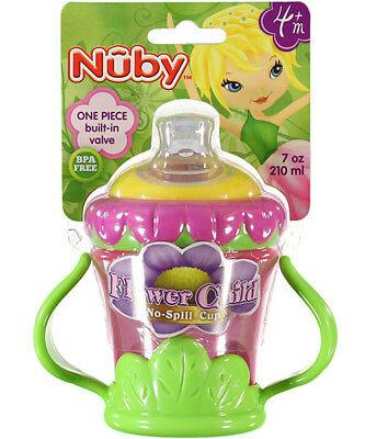 Nuby No Spill Flower Child Sippy Cup for Infant Baby Girl 4 Month UP 7oz