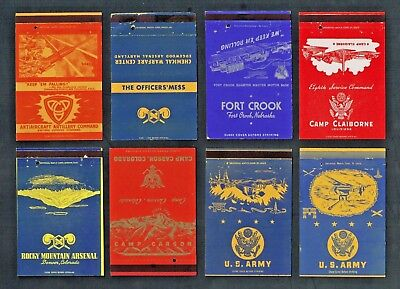 Matchbook Covers Lot of (8) World War 2 U.S. Army Camps 40-Strikes #C42