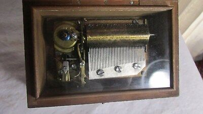 Antique 19th Wooden Swiss Cylinder Music Box H T 3 Airs Tunes 35 Teeth 1900