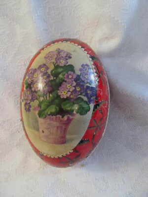 Antique Germany Paper Mache Easter Egg Candy Container~Purple Flowers Paper Lace