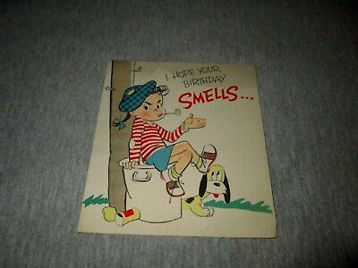 I HOPE YOUR BIRTHDAY SMELLS-GIBSON GALL-VINTAGE 1940s ERA GIBSON GREETING CARD
