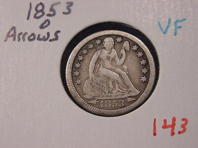 1853-O Arrows Seated Liberty Dime Vf Better Date Free Shipping
