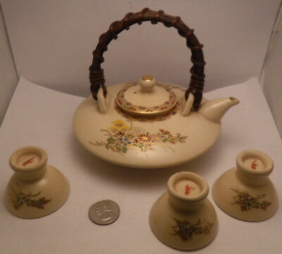 Vintage Satsuma Hand Painted Floral Teapot & 3 Cups Japan Japanese