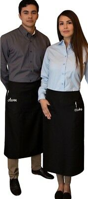 1 new black server apron 3 pocket bistro waist waiter waitress restaurant custom
