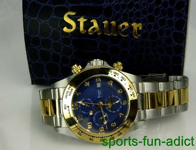 Stauer 27 Jewel Automatic 23378 Mens Watch Day Date Month Moon Phase w BOX LINKS