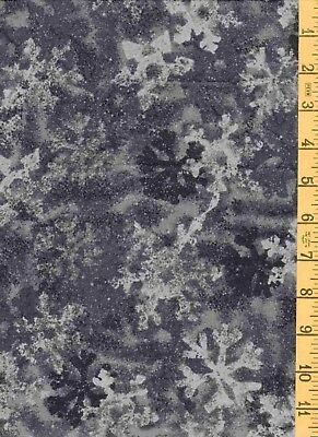 """2YD 16"""" Cotton Quilt Sew Fabric SSI Winter's Here Snowflakes on Gray"""