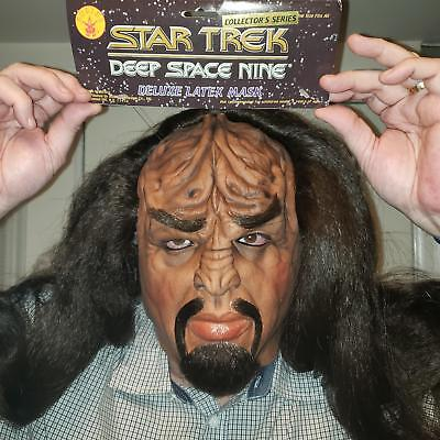 WORF Adult Latex Mask FULL Hair, Beard, Brows Star Trek DS9 STNG 1995 Rubies NEW