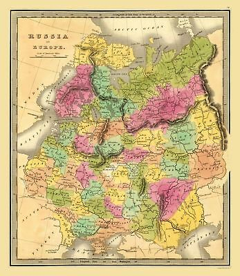 Map Of Russia In Europe.Map Of Russia In Europe Sweden And Norway 1864 Mitchell 24 50