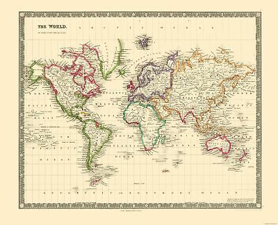International Map - World - Mercator Projection - Teesdale 1840 - 28.31 x 23