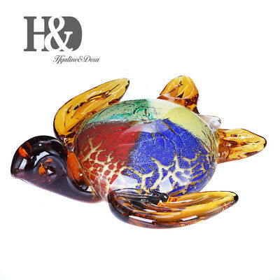 Crystal Figurine Handmade Glass Blown Turtle Ornament Blast Red Paperweight Gift
