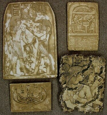 Clearance Lot of 4 Egyptian Wall Fragments King Tut,Anubis,Isis,Osiris, Horus