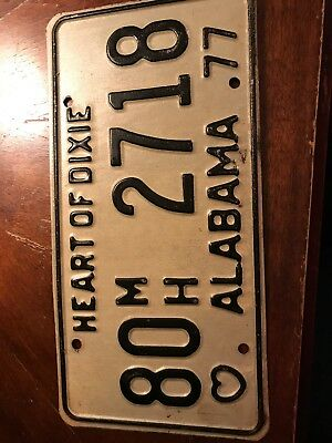 ALABAMA LICENSE Plate 1977 Heart Of Dixie Embossed
