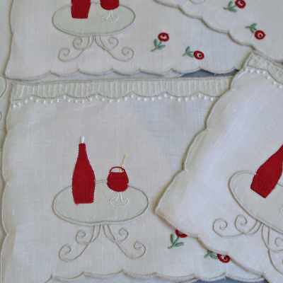 8 Vintage MADEIRA Linen Cocktail Napkins Hand Embr Appliques WINE Table ROSES