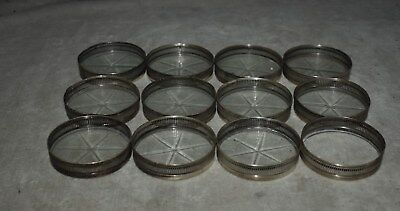 Beautiful Set Of 12 Solid Sterling Silver And Cut Glass Drink Coasters