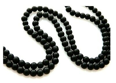 140 Opaque Jet Black Solid Color Glass Smooth Round 6mm Craft Beads
