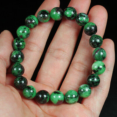 158.8Ct 100% Natural Red Green Bi Color Ruby In Zoisite Beads Bracelet BRG401