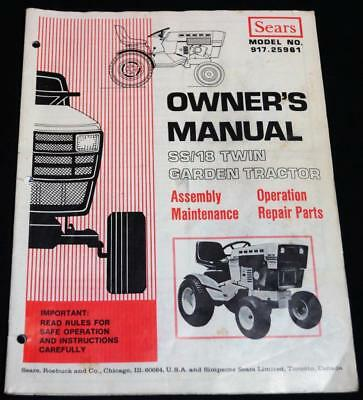 Sears 55/18 Twin Garden Tractor Owner's Manual Booklet Guide 1976 Vintage