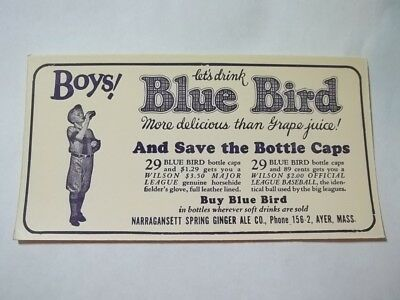 1930s Baseball Theme Blotter Blue Bird Pop Ayer MA Wilson Baseball Glove Mail In
