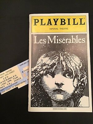 Les Miserables Broadway Playbill (May 19, 2003) Imperial Theatre & Ticket Stub