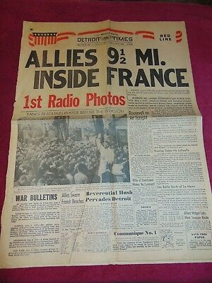 June 6, 1944 Detroit Newspaper: Wwii D-Day Allied Invasion Of France