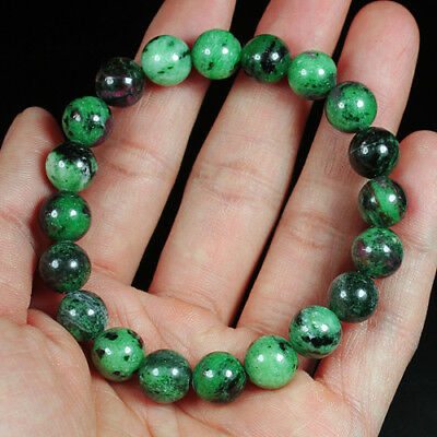 155.3Ct 100% Natural Red Green Bi Color Ruby In Zoisite Beads Bracelet BRG402