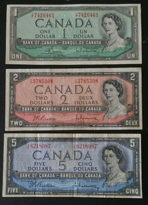 CANADA Lot of 3 1954 VF to UNC Canadian Notes $1 2 5 Dollar Bill Five Two One