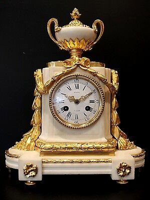 19th CENTURY FRENCH WHITE MARBLE AND WITH GILT BRONZE, (ORMOLU) CLOCK.  C1870