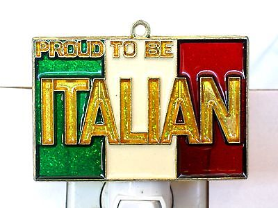 """Stained Glass Style """"proud To Be Italian"""" Flag Night Light For All-New!"""