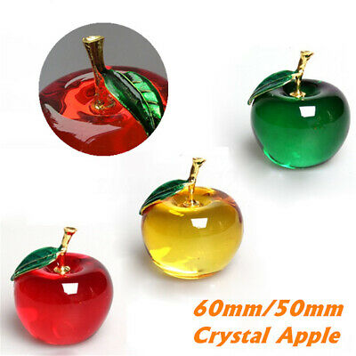 50/60mm Crystal Apple Glass Paperweight Wedding Home Decorations Xmas Ornament