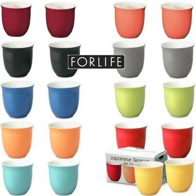 For Life Glazed Ceramic Japanese Tea Cups 192ml in Various Colours